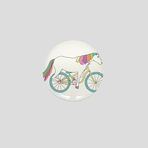 Unicorn Riding Bike Mini Button