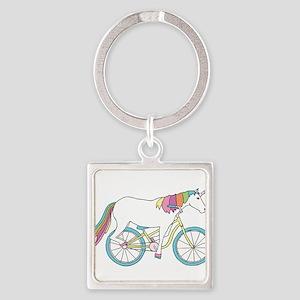 Unicorn Riding Bike Keychains