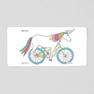 Unicorn Riding Bike Aluminum License Plate