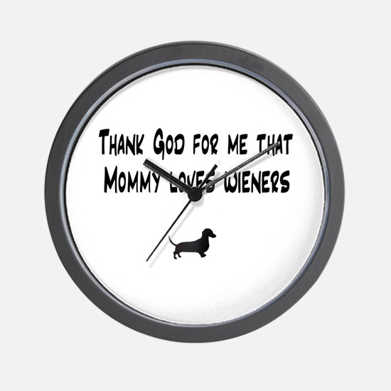 TG Mommy Loves Wieners Dachshund Wall Clock
