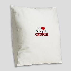 My Heart Belongs to Griffins Burlap Throw Pillow