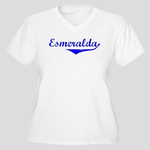 Esmeralda Vintage (Blue) Women's Plus Size V-Neck