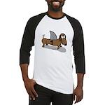 Wiener Dog with a Sharks Fin Baseball Jersey