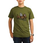 Wiener Dog with a Sha Organic Men's T-Shirt (dark)