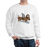 Wiener Dog with a Sharks Fin Sweatshirt