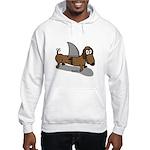 Wiener Dog with a Sharks Fin Hooded Sweatshirt