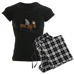 Wiener Dog with a Sharks Fin Women's Dark Pajamas