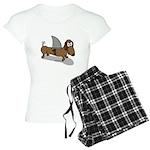 Wiener Dog with a Sharks Fi Women's Light Pajamas