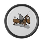 Wiener Dog with a Sharks Fin Large Wall Clock