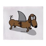 Wiener Dog with a Sharks Fin Throw Blanket