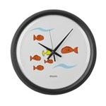 Fish School Bathroom Large Wall Clock