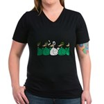 Duck Row Women's V-Neck Dark T-Shirt