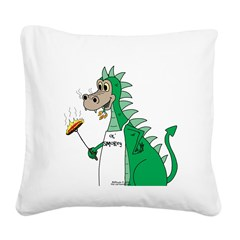 Dragon Grilling Square Canvas Pillow