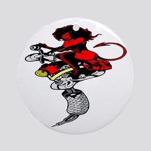 Devil Girl Riding Tattoo Mach Ornament (Round)
