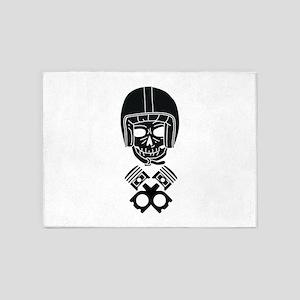 Motorcycle Helmet Skull 5'x7'Area Rug