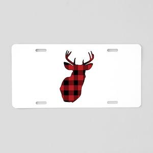 Plaid Deer Head Aluminum License Plate