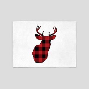Plaid Deer Head 5'x7'Area Rug