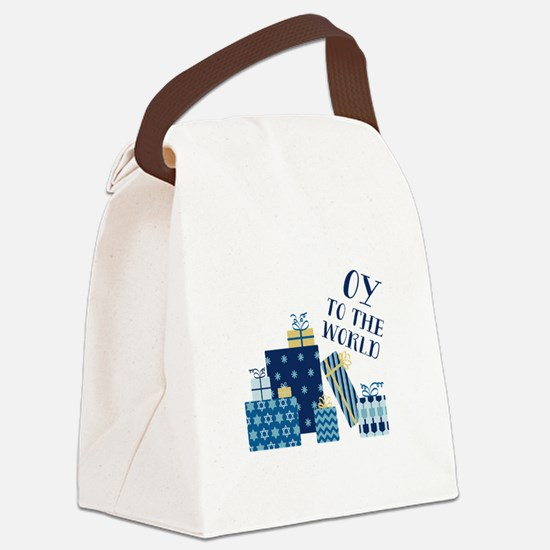 Oy To World Canvas Lunch Bag