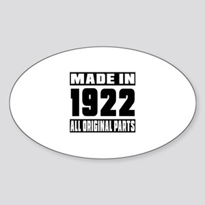 Made In 1922 Sticker (Oval)