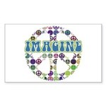 Retro Peace Sign Imagine Rectangle Sticker