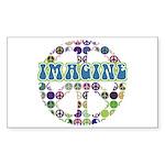 Retro Peace Sign Imagine Rectangle Sticker