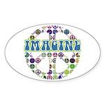 Retro Peace Sign Imagine Oval Sticker