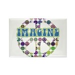 Retro Peace Sign Imagine Rectangle Magnet