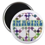 """Retro Peace Sign Imagine 2.25"""" Magnet (100 pack)"""