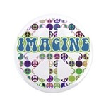 "Retro Peace Sign Imagine 3.5"" Button (100 pack)"