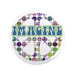 "Retro Peace Sign Imagine 3.5"" Button (100 pack)"