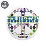 "Retro Peace Sign Imagine 3.5"" Button (10 pack)"