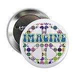 "Retro Peace Sign Imagine 2.25"" Button (10 pack)"