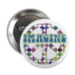 "Retro Peace Sign Imagine 2.25"" Button"