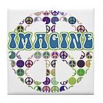 Retro Peace Sign Imagine Tile Coaster