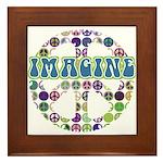 Retro Peace Sign Imagine Framed Tile