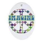 Retro Peace Sign Imagine Oval Ornament
