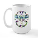 Retro Peace Sign Imagine Large Mug