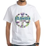 Retro Peace Sign Imagine White T-Shirt