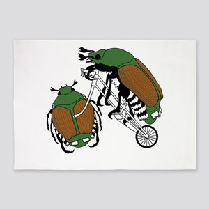 Japanese Beetle Riding Bike/ Japane 5'x7'Area Rug