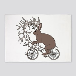 Jackalope Riding It's Antler Bike 5'x7'Area Rug