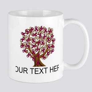Personalized Burgundy Ribbon Mugs