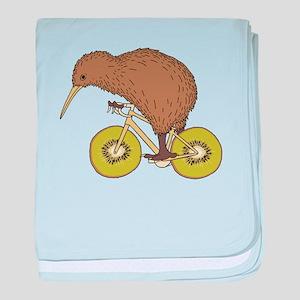 Kiwi Riding Bike With Kiwi Wheels baby blanket