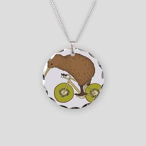 Kiwi Riding Bike With Kiwi W Necklace Circle Charm