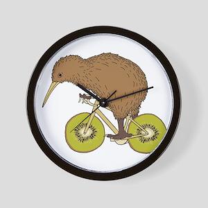 Kiwi Riding Bike With Kiwi Wheels Wall Clock