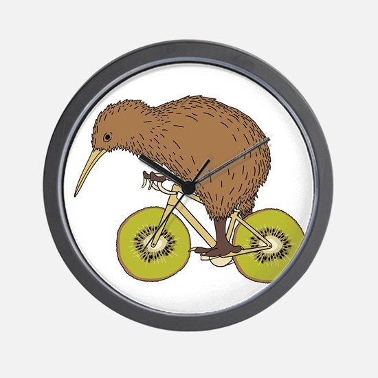 Kiwi Riding Bike With Kiwi Wheels Wall Clock