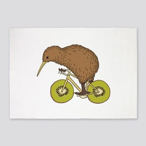 Kiwi Riding Bike With Kiwi Wheels 5'x7'Area Rug