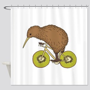 Kiwi Riding Bike With Kiwi Wheels Shower Curtain