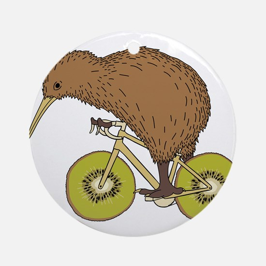 Kiwi Riding Bike With Kiwi Wheels Round Ornament