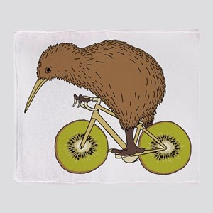 Kiwi Riding Bike With Kiwi Wheels Throw Blanket