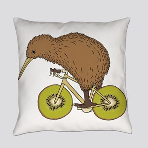 Kiwi Riding Bike With Kiwi Wheels Everyday Pillow